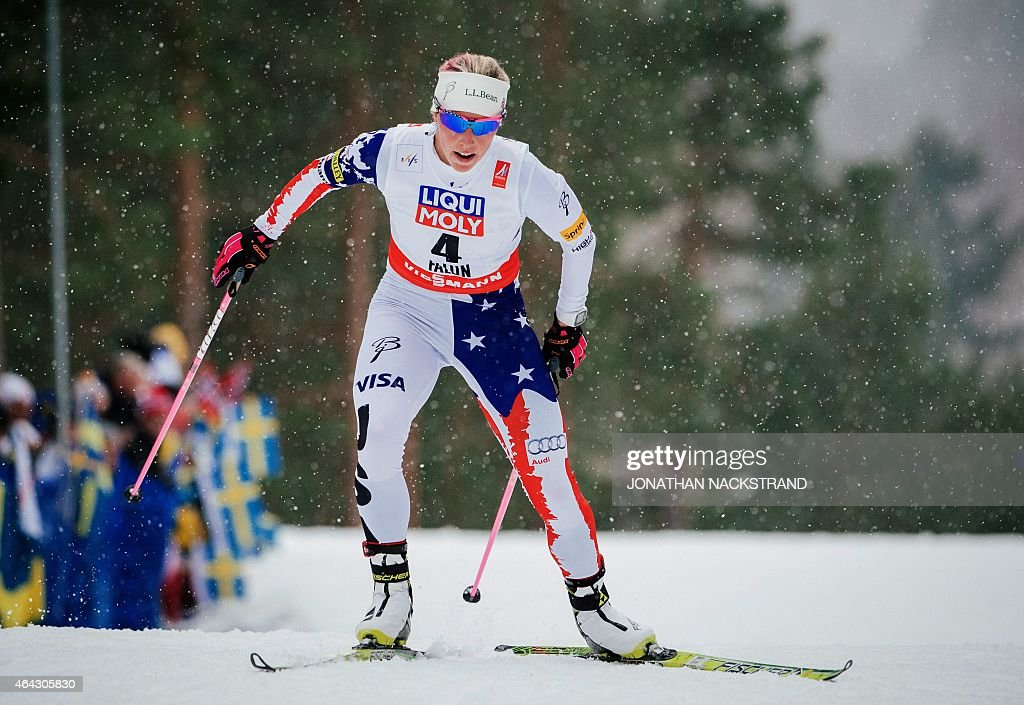 US' <a gi-track='captionPersonalityLinkClicked' href=/galleries/search?phrase=Kikkan+Randall&family=editorial&specificpeople=813699 ng-click='$event.stopPropagation()'>Kikkan Randall</a> competes during the ladies cross country 10 km individual free competition of the 2015 FIS Nordic World Ski Championships in Falun, Sweden, on February 24, 2015. Sweden's Charlotte Kalla won ahead of US' Jessica Diggins and US' Caitlin Gregg. AFP PHOTO / JONATHAN NACKSTRAND