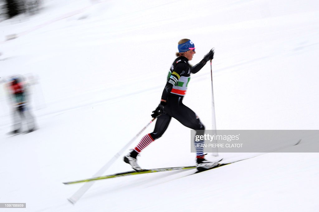 US Kikkan Randall competes in the Ladies's Nordic skiing combined World Cup relay (4 x 5 km) on January 20, 2013 in La Clusaz, eastern France. AFP PHOTO JEAN-PIERRE CLATOT