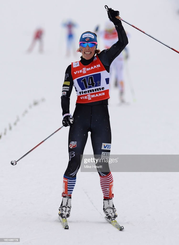 Kikkan Randall of the United States celebrates victory in the Women's Team Sprint Final at the FIS Nordic World Ski Championships on February 24, 2013 in Val di Fiemme, Italy.