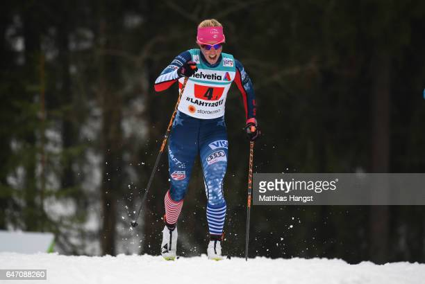 Kikkan Randall of the United States competes during the Women's Cross Country 4x5km Relay at the FIS Nordic World Ski Championships on March 2 2017...