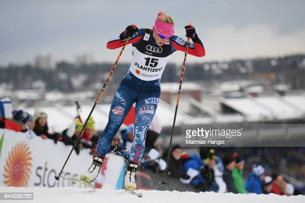 Kikkan Randall of the United States competes in the Women's 14KM Cross Country Sprint qualification round during the FIS Nordic World Ski...
