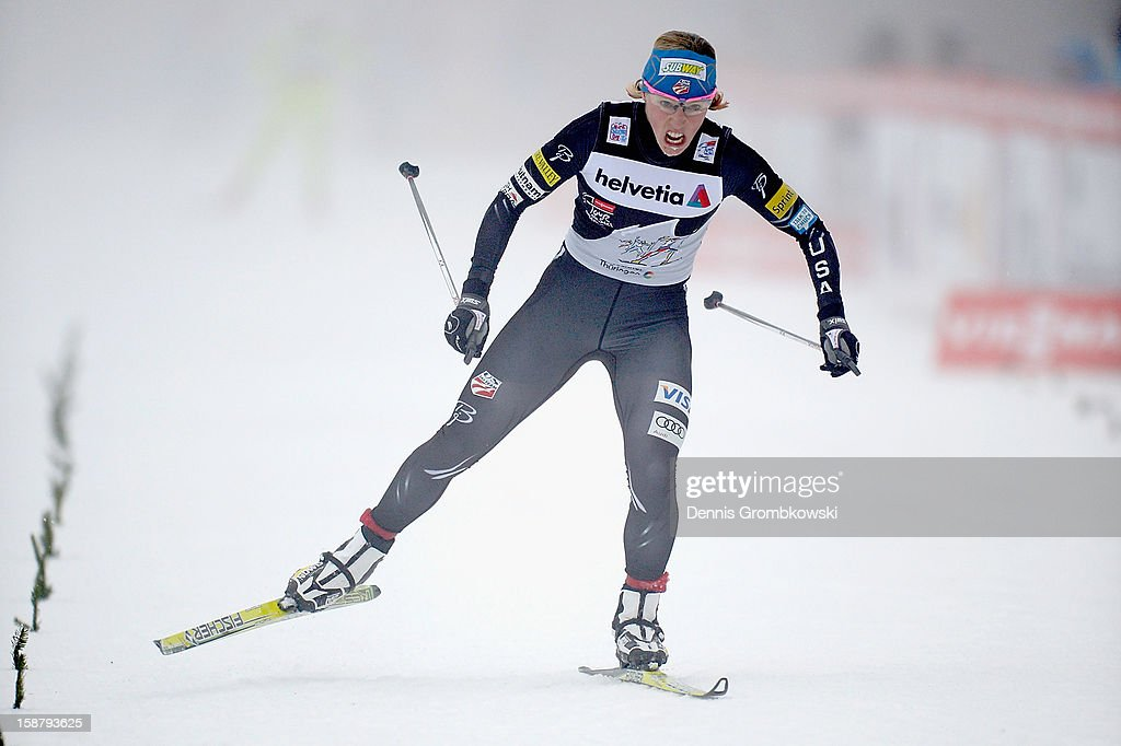 Kikkan Randall of the United States competes in the Women's 3.1km Free Individual Prolouge at DKB Ski Arena on December 29, 2012 in Oberhof, Germany.