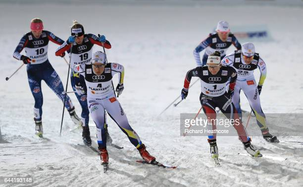 Kikkan Randall of the United States Jessica Diggins of the United States Hanna Falk of Sweden Maiken Caspersen Falla of Norway Sophie Caldwell of the...