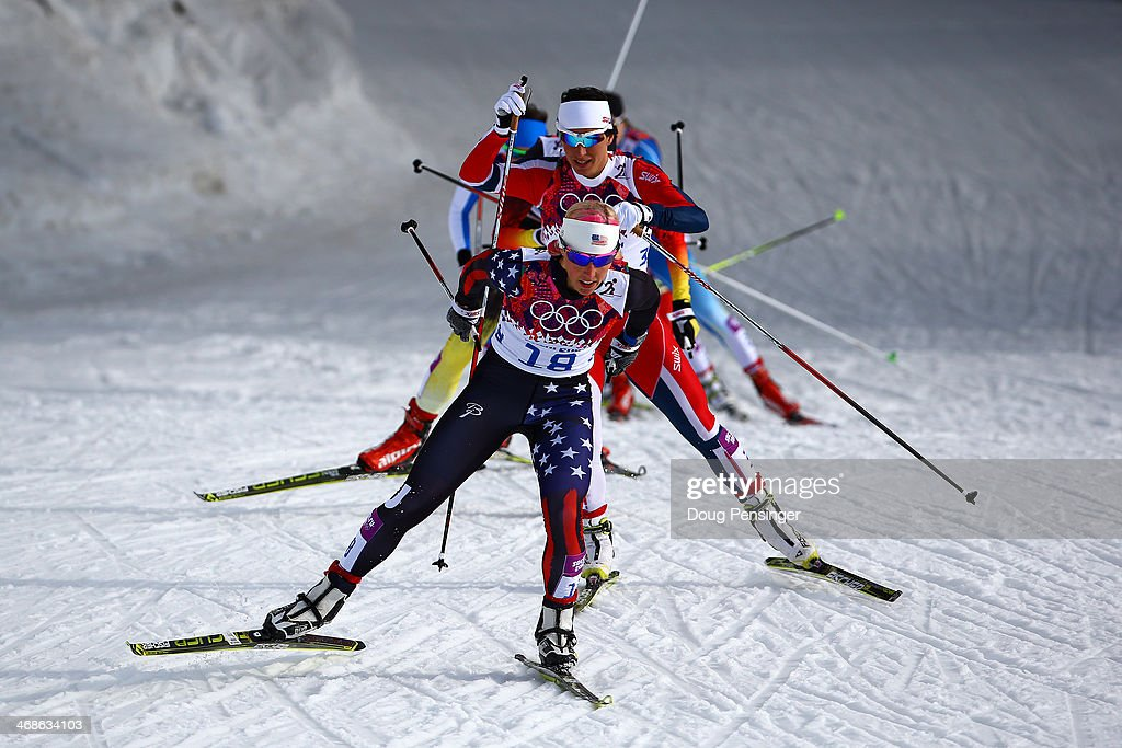 <a gi-track='captionPersonalityLinkClicked' href=/galleries/search?phrase=Kikkan+Randall&family=editorial&specificpeople=813699 ng-click='$event.stopPropagation()'>Kikkan Randall</a> of the United States leads the pack in Finals of the Ladies' Sprint Free during day four of the Sochi 2014 Winter Olympics at Laura Cross-country Ski & Biathlon Center on February 11, 2014 in Sochi, Russia.