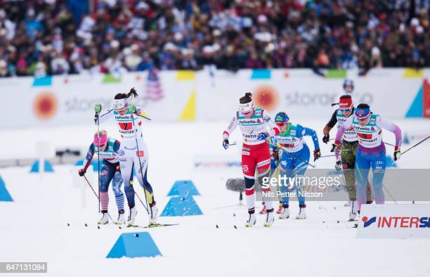 Kikkan Randall of USA Anna Haag of Sweden Maiken Caspersen Falla of Norway and AinoKaisa Saarinen of Finland during the women's cross country relay...