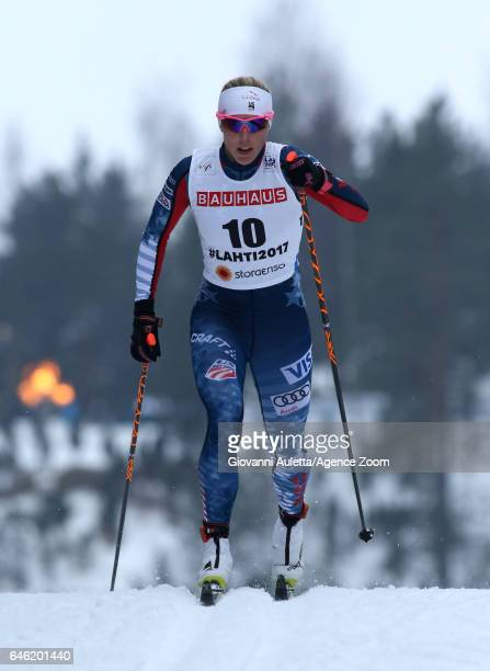 Kikkan Randall of USA competes during the FIS Nordic World Ski Championships Women's Cross Country Distance on February 28 2017 in Lahti Finland