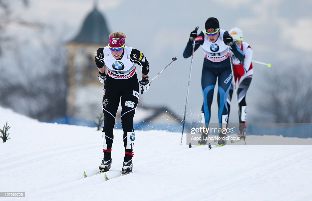 Kikkan Randall of USA competes during the mass start women event of the FIS World Cup Tour De Ski on January 8, 2011 in Val di Fiemme, Italy.