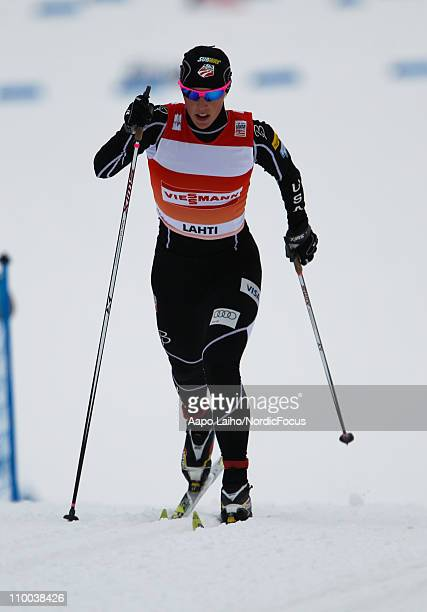 Kikkan Randall of USA competes during the women's individual sprint of the FIS World Cup Cross Country on March 13 2011 in Lahti Finland