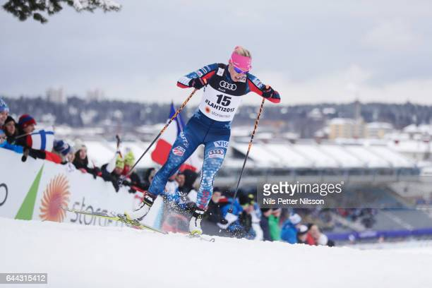 Kikkan Randall of USA during the cross country sprint during the FIS Nordic World Ski Championships on February 23 2017 in Lahti Finland