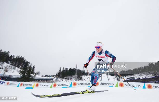 Kikkan Randall of USA during the women's cross country distance during the FIS Nordic World Ski Championships on February 28 2017 in Lahti Finland