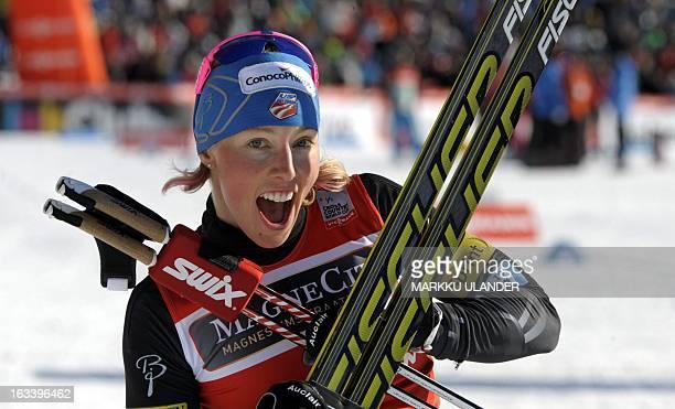 US Kikkan Randall reacts after wining the ladies World Cup sprint event at the Lahti Ski Games on March 9 2013 AFP PHOTO/ LEHTIKUVA / Markku Ulander