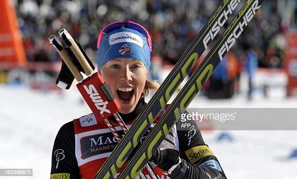 US Kikkan Randall reacts after wining the ladies World Cup sprint event at the Lahti Ski Games on March 9 2013 AFP PHOTO/ LEHTIKUVA / Heikki Saukkomaa
