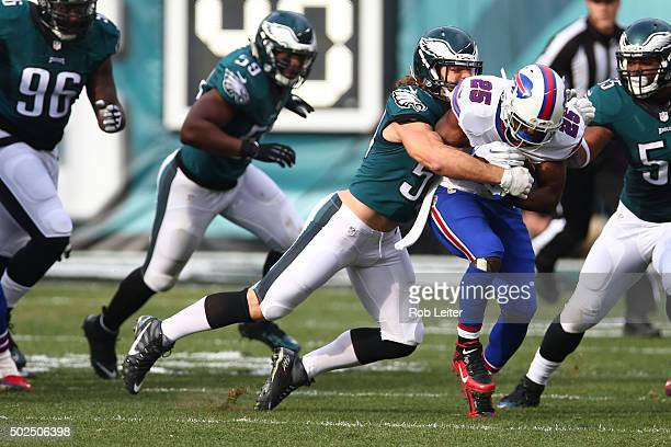 Kiko Alonso of the Philadelphia Eagles makes a tackle during the game against the Buffalo Bills at Lincoln Financial Field on December 13 2015 in...