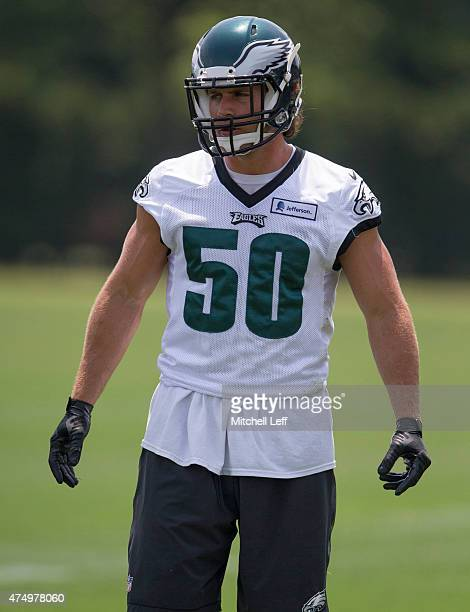 Kiko Alonso of the Philadelphia Eagles participates in OTA's on May 28 2015 at the NovaCare Complex in Philadelphia Pennsylvania