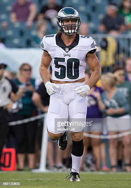 Kiko Alonso of the Philadelphia Eagles warms up prior to the game against the Baltimore Ravens on August 22 2015 at Lincoln Financial Field in...