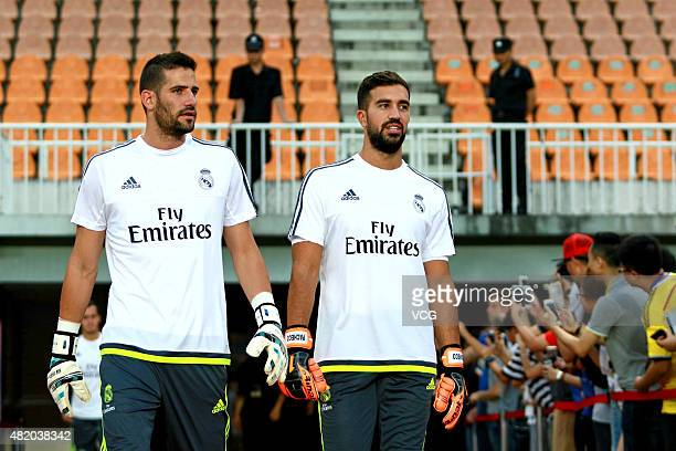 Kiko Casilla and Fernando Pacheco of Real Madrid take part in a training session at Tianhe Sports Center ahead of the International Champions Cup...