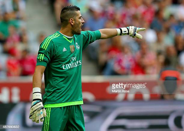 Kiko Casilla goalkeeper of Real Madrid gestures during the Audi Cup 2015 match between Real Madrid and Tottenham Hotspur at Allianz Arena on August 4...