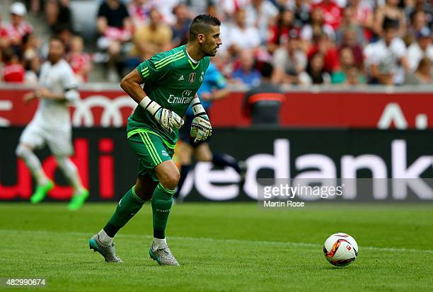 Kiko Casilla goalkeeper of Real Madrid in action during the Audi Cup 2015 match between Real Madrid and Tottenham Hotspur at Allianz Arena on August...