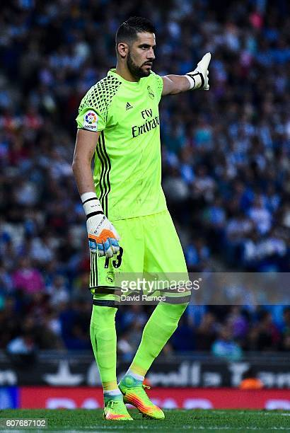 Kiko Casilla of Real Madrid CF reacts during the La Liga match between RCD Espanyol and Real Madrid CF at the RCDE stadium on September 18 2016 in...