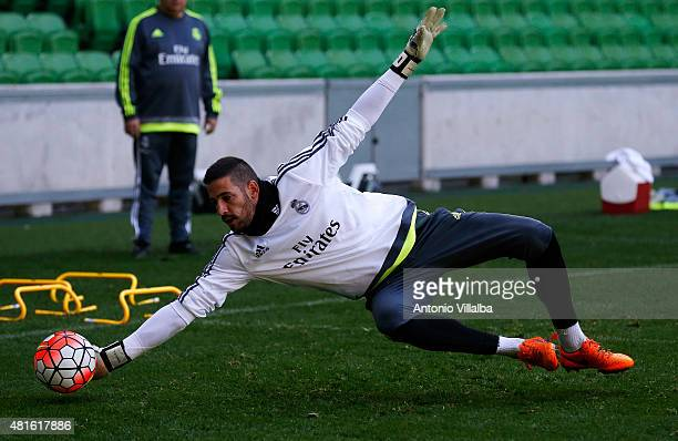 Kiko Casilla of Real Madrid during a training session at AAMI Park on July 23 2015 in Melbourne Australia