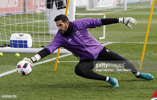 Kiko Casilla of Real Madrid in action during a training session at Valdebebas training ground on November 29 2016 in Madrid Spain