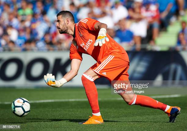 Kiko Casilla of Real Madrid in action during the La Liga match between Getafe and Real Madrid at Estadio Coliseum Alfonso Perez on October 14 2017 in...