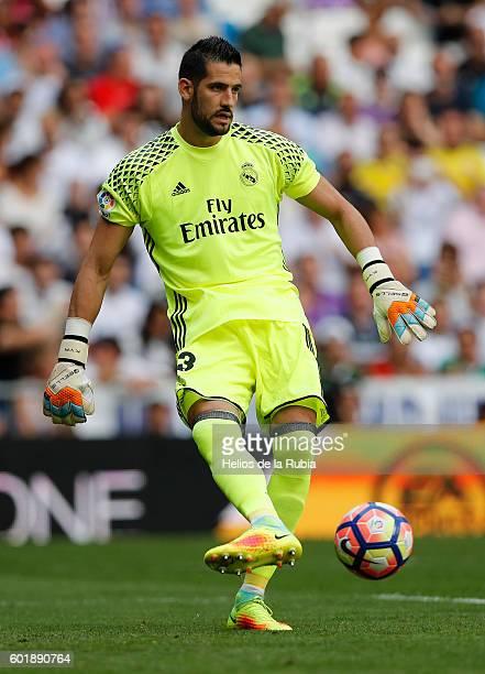 Kiko Casilla of Real Madrid in action during the La Liga match between Real Madrid CF and CA Osasuna at Estadio Santiago Bernabeu on September 10...