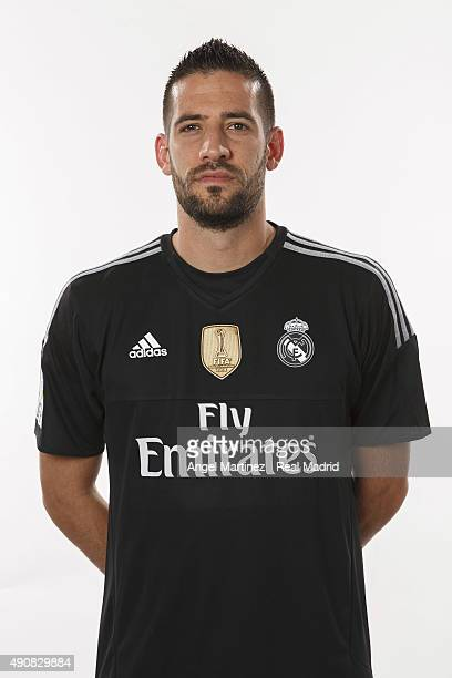 Kiko Casilla of Real Madrid poses during the official portrait photocall at Valdebebas training ground on September 28 2015 in Madrid Spain