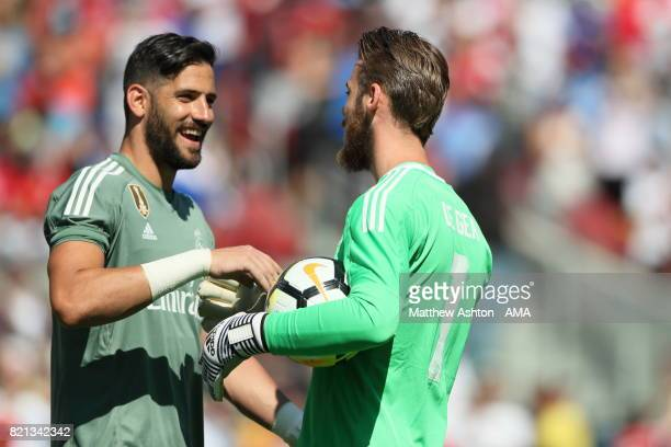 Kiko Casilla of Real Madrid with David de Gea of Manchester United during the International Champions Cup 2017 match between Real Madrid v Manchester...