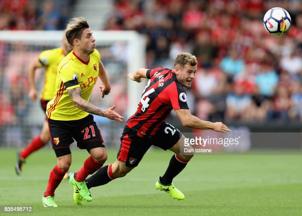 Kiko Femenia of Watford and Ryan Fraser of AFC Bournemouth battle for possession during the Premier League match between AFC Bournemouth and Watford...