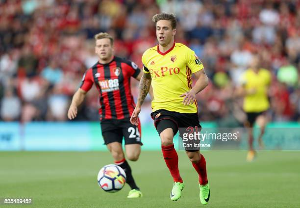 Kiko Femenia of Watford in action during the Premier League match between AFC Bournemouth and Watford at Vitality Stadium on August 19 2017 in...