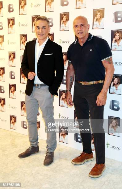 Kiko Hernandez and Kiko Matamoros attend the presentation of the autobiography book 'Frente Al Espejo' by Terelu Campos at Hotel Villamagna on July...