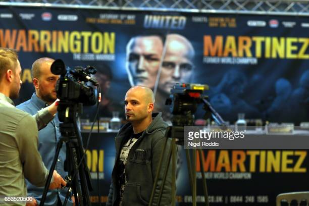 Kiko Martinez speaks to media during a Press Conference at the Aspire hotel on March 15 2017 in Leeds England Josh Warrington will fight Kiko...