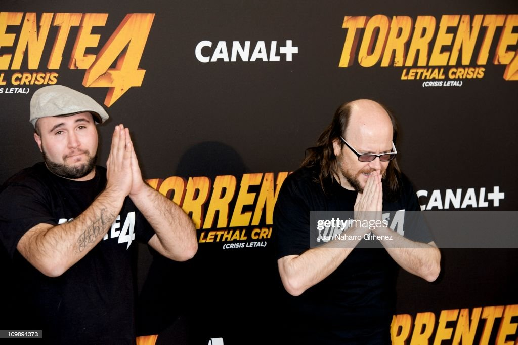 Kiko Rivera and Santiago Segura attend 'Torrente 4' photocall at Capitol Cinema on March 9 2011 in Madrid Spain