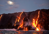 Lava from Kilauea volcano entering ocean, Big Island, HI