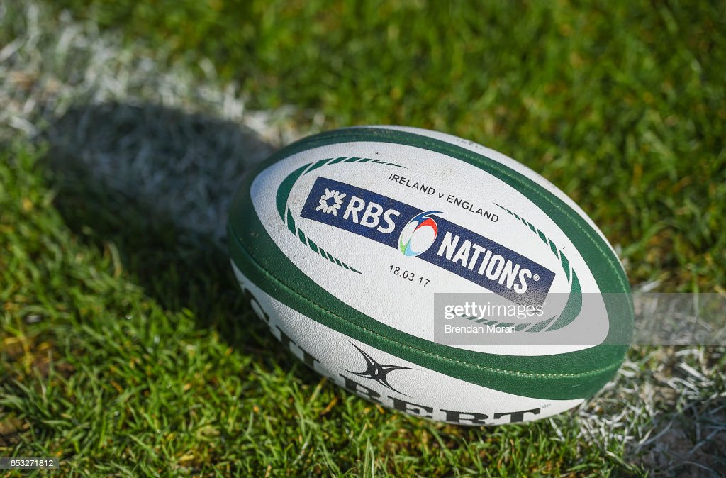 Kildare , Ireland - 14 March 2017; A match ball for Saturday's game at Ireland squad training at Carton House in Maynooth, Co Kildare.