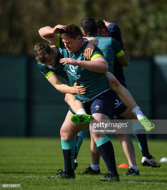 Kildare Ireland 14 March 2017 Garry Ringrose left and Tadhg Furlong of Ireland during squad training at Carton House in Maynooth Co Kildare