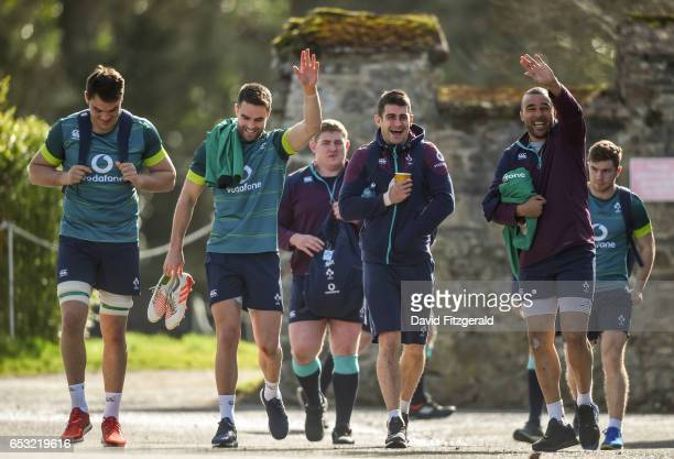 Kildare Ireland 14 March 2017 Ireland players from left Quinn Roux Conor Murray Tiernan O'Halloran and Simon Zebo arrive ahead of squad training at...