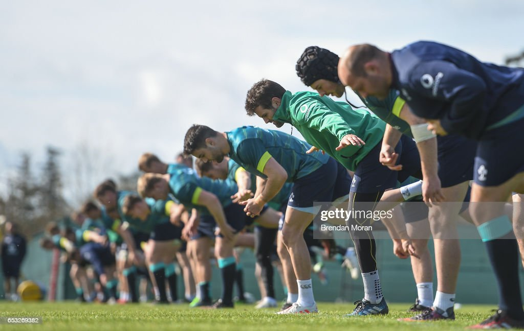 Kildare , Ireland - 14 March 2017; Jared Payne of Ireland, 3rd from right, during squad training at Carton House in Maynooth, Co Kildare.