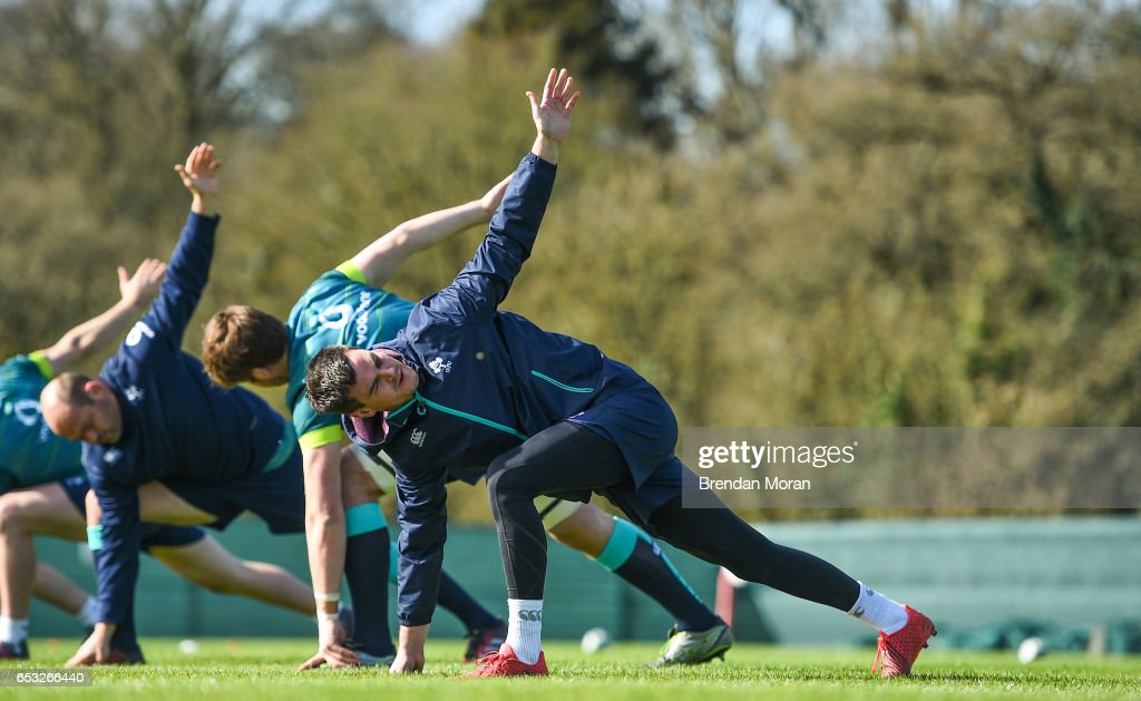 Kildare , Ireland - 14 March 2017; Jonathan Sexton of Ireland during squad training at Carton House in Maynooth, Co Kildare.