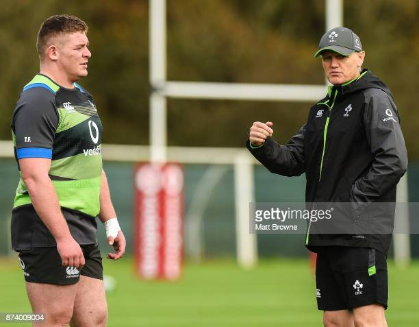 Kildare Ireland 14 November 2017 Head coach Joe Schmidt with Tadhg Furlong during Ireland rugby squad training at Carton House in Maynooth Kildare