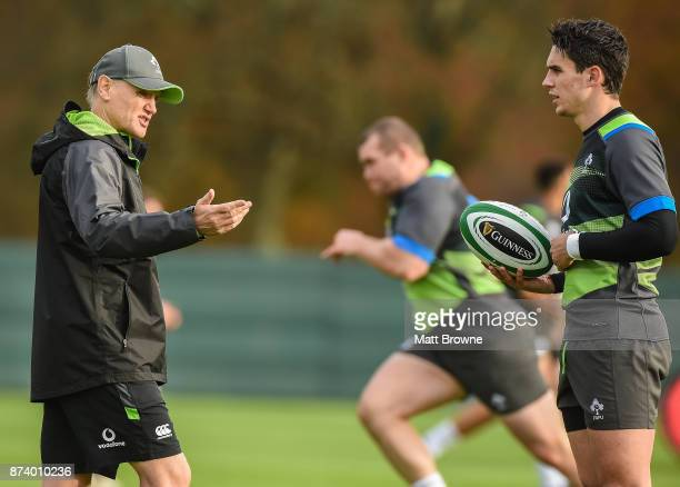 Kildare Ireland 14 November 2017 Joey Carbery with head coach Joe Schmidt during Ireland rugby squad training at Carton House in Maynooth Kildare
