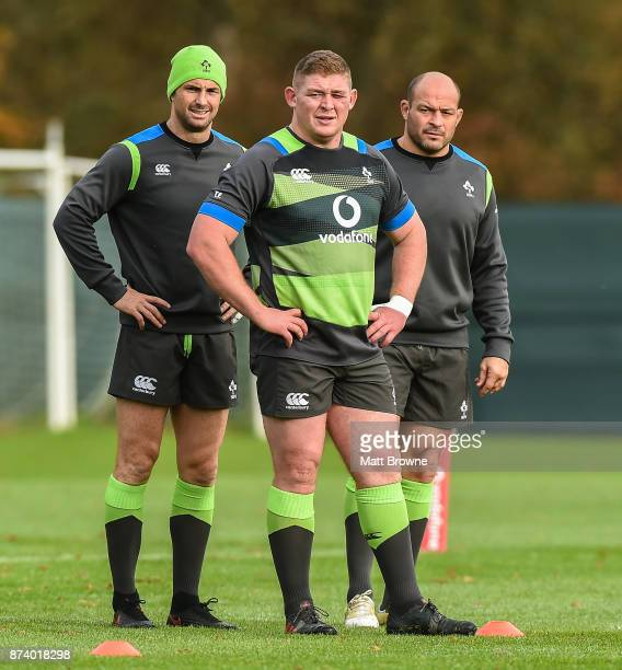 Kildare Ireland 14 November 2017 Tadhg Furlong left with Rob Kearney and Rory Best during Ireland rugby squad training at Carton House in Maynooth...