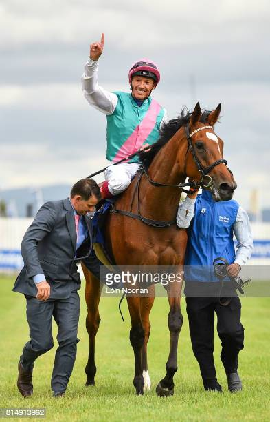 Kildare Ireland 15 July 2017 Enable with Frankie Dettori up celebrates after winning the Darley Irish Oaks race during Day 1 of the Darley Irish Oaks...