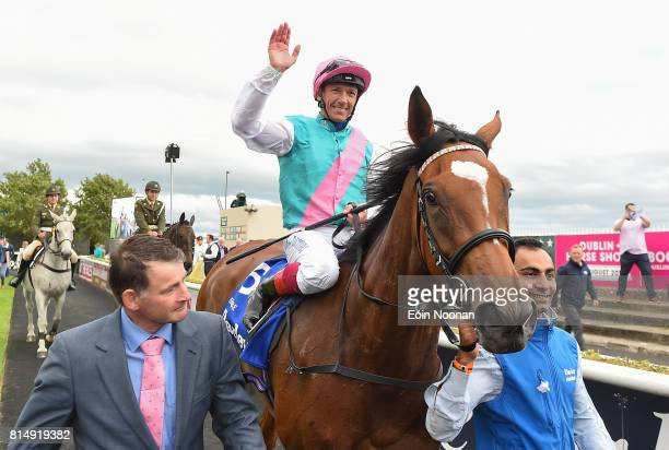 Kildare Ireland 15 July 2017 Enable with Frankie Dettori up celebrating as he enters the parade ring after winning the Darley Irish Oaks during Day 1...