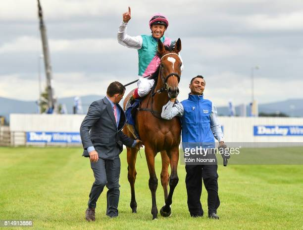 Kildare Ireland 15 July 2017 Enable with Frankie Dettori up celebrate after winning the Darley Irish Oaks race during Day 1 of the Darley Irish Oaks...