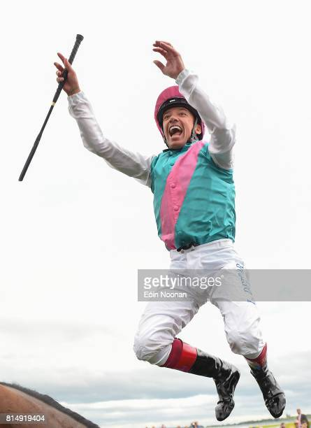 Kildare Ireland 15 July 2017 Frankie Dettori celebrates by jumping off his horse Enable after winning the Darley Irish Oaks during Day 1 of the...