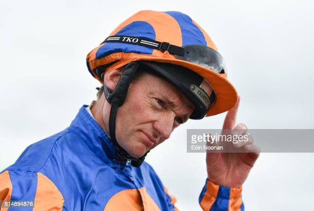 Kildare Ireland 15 July 2017 Seamie Heffernan tips his hat to the crowd after winning the Jebel Ali Silver Jubilee Anglesey Stakes during Day 1 of...
