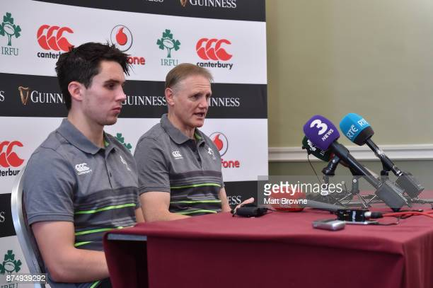 Kildare Ireland 16 November 2017 Ireland head coach Joe Schmidt with Joey Carbery during an Ireland rugby squad press conference at Carton House in...