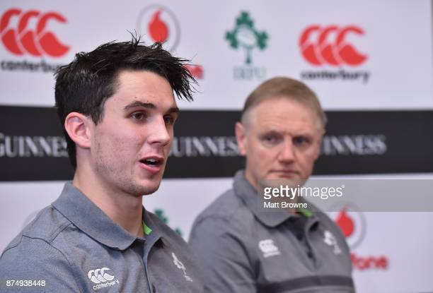 Kildare Ireland 16 November 2017 Joey Carbery with head coach Joe Schmidt during an Ireland rugby press conference at Carton House in Maynooth Kildare